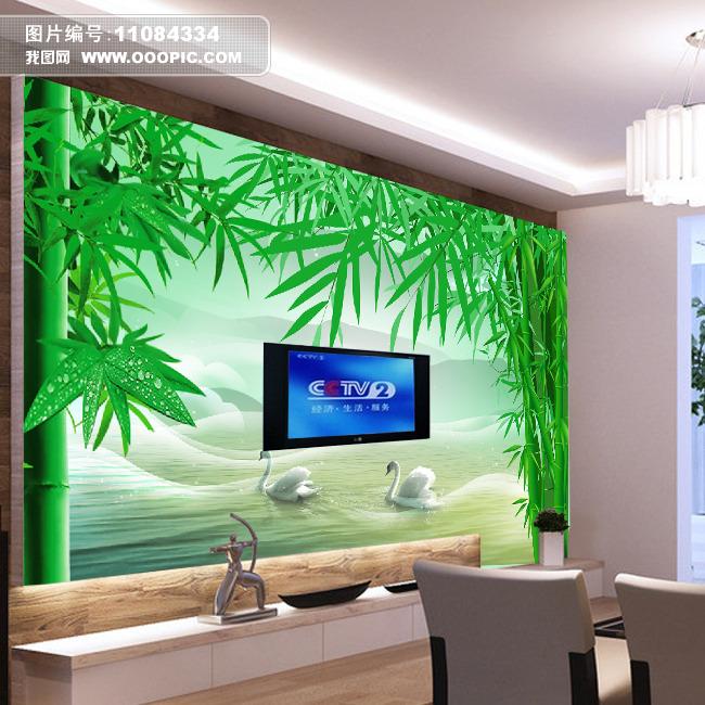 竹林风景背景墙模板下载(图片编号:11084334)_手绘墙