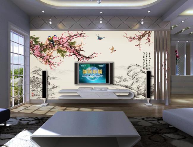 古典桃花电视背景墙装饰画