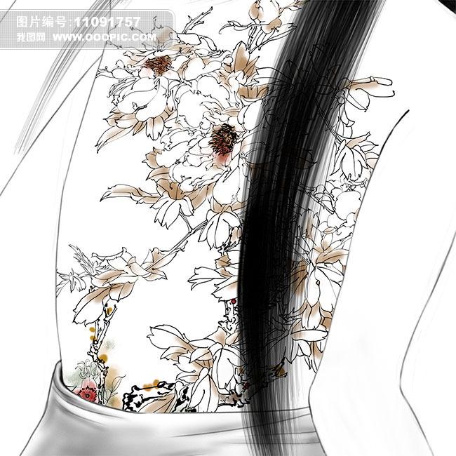 手绘工笔牡丹纹身美女psd分层图