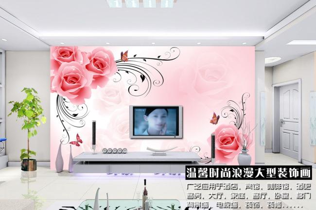 背景墙|装饰画 电视背景墙 手绘电视背景墙 > 玫瑰花朵电视背景墙