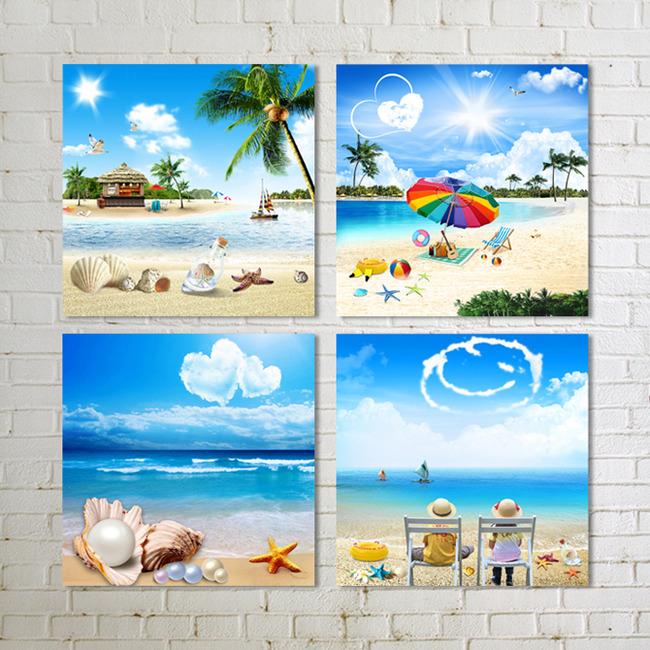 背景墙|装饰画 无框画 风景无框画 > 海星组合贝壳沙滩海洋蓝天白云图片
