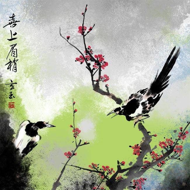 中国风花鸟无框画psd分层图图片下载 手绘国画下载 手绘 手绘国画
