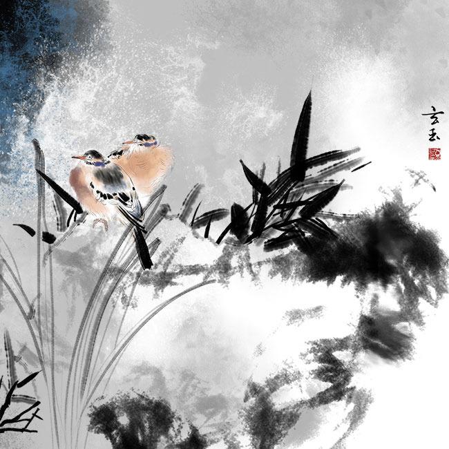 背景墙|装饰画 无框画 中国风无框画 > 手绘水墨兰石竹花鸟无框画psd
