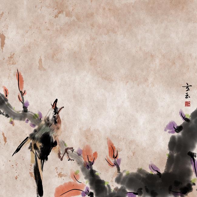 原创手绘水墨花鸟装饰画psd分层图