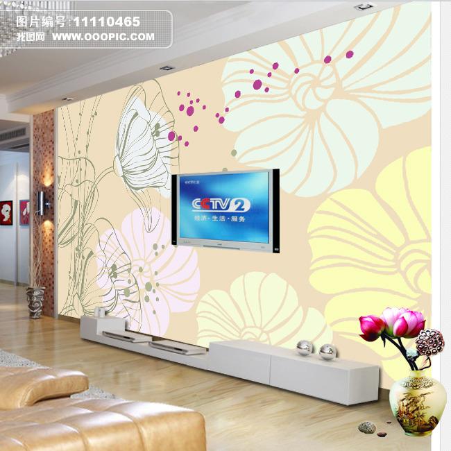 手绘荷花电视背景墙装饰画模板下载