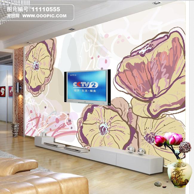 手绘涂鸦花朵电视背景墙装饰画模板下载