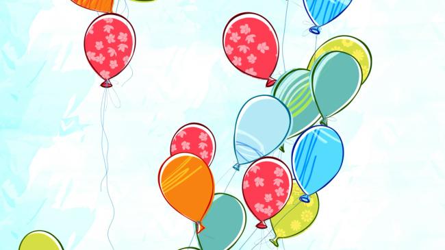 素描卡通彩色气球上升云朵飘过素材模板下载(图片 .