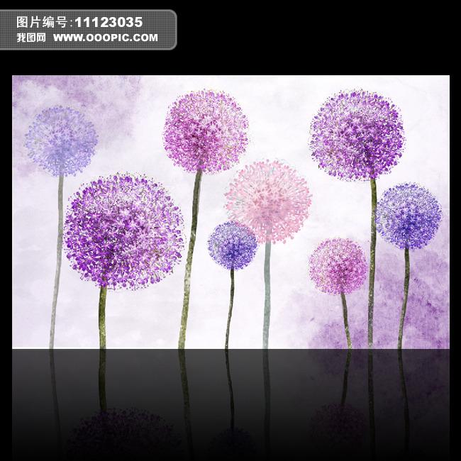 紫色绣球花电视背景墙图片下载 背景墙壁画装饰画百合唯美 梦幻 花朵