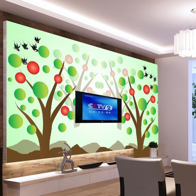 飞鸟林影电视背景墙装饰画模板下载