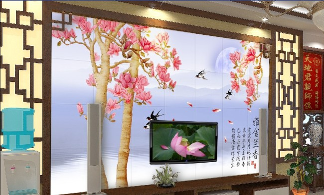 室内装饰图片 壁画 墙纸 酒店壁画 玉兰 玉兰树 风景 山水 湖水 月亮