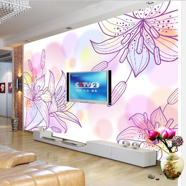 手绘百合花电视背景墙装饰画模板下载
