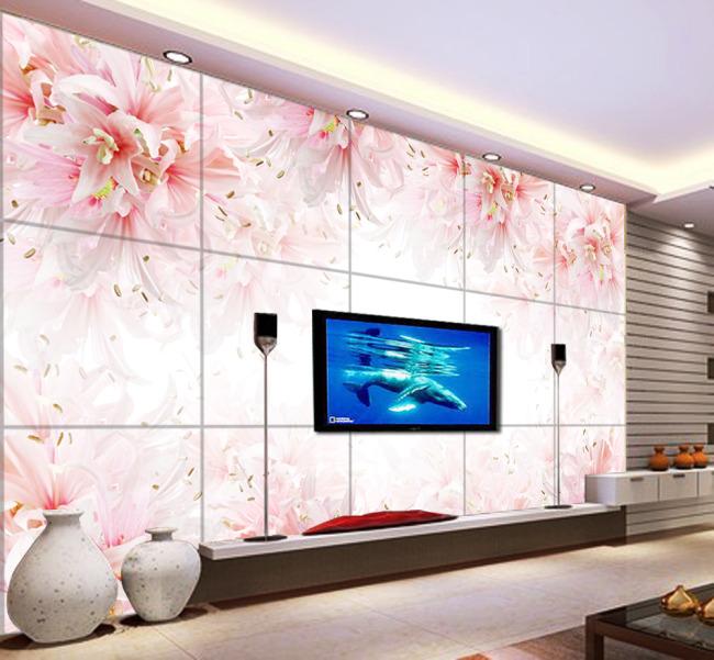 背景墙 电视 花朵/粉红花朵电视背景墙