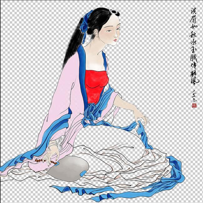 手绘古装仕女装饰画psd分层图图片下载手绘美女下载