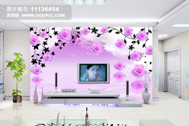 粉色花 淡雅 个性 墙画