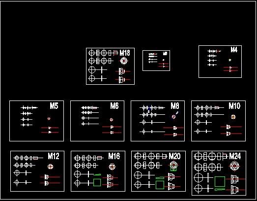 cad绘图图框各螺母等元素模板下载