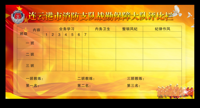 平面设计 展板设计 部队展板设计 > 消防部队评比栏消防展板  下一张&
