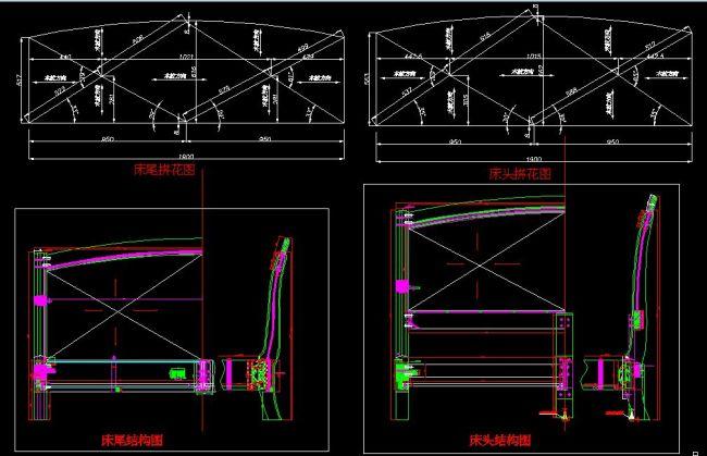 cad平面图 cad施工图 cad设计图 家具 家具cad图 家具图 床