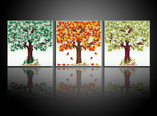 无框画 挂画 壁画室内装饰墙画 艺术画 抽象画 现代画 大树 秋天 落叶