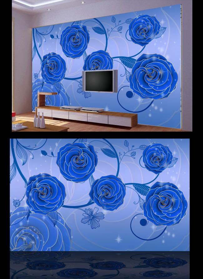 蓝色玫瑰电视背景墙
