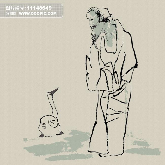 古代故事水墨人物无框画设计模板下载