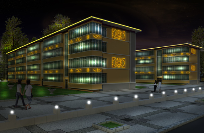 小区夜景照明PS设计模板下载 11151985 室外设计 背景墙