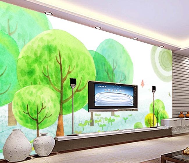 绿色唯美树林卡通手绘艺术简约电视背景墙