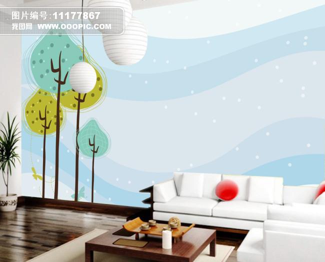 手绘线条背景墙设计