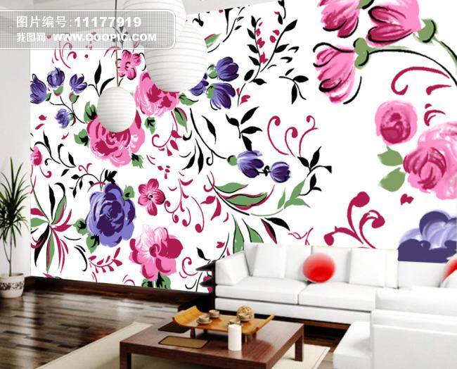 背景墙|装饰画 电视背景墙 电视背景墙 > 手绘牡丹花卉背景墙设计  编