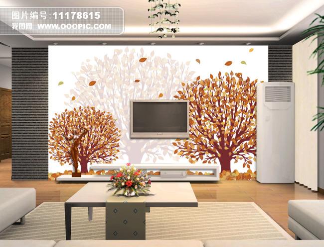 抽象树电视背景墙