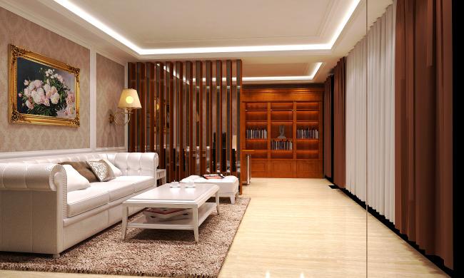 欧式风格高档客厅效果图