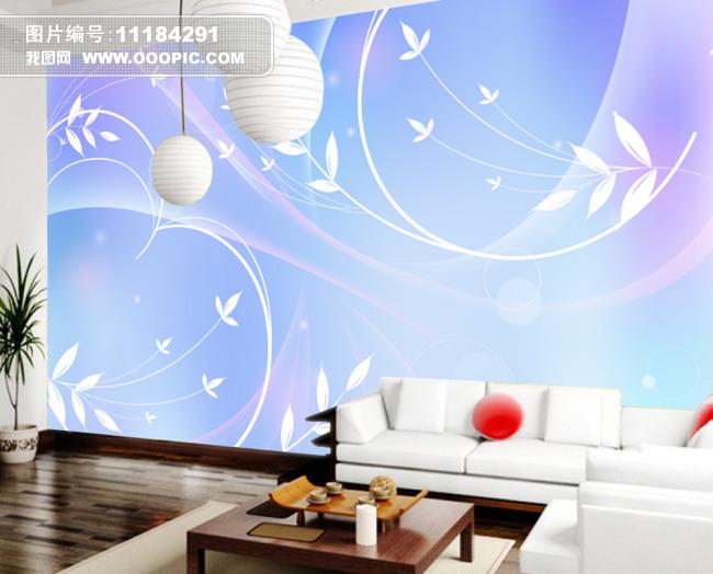 蓝色精美白色线条背景墙设计