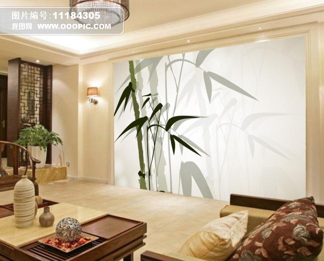 淡雅竹子书香气息背景墙设计图片