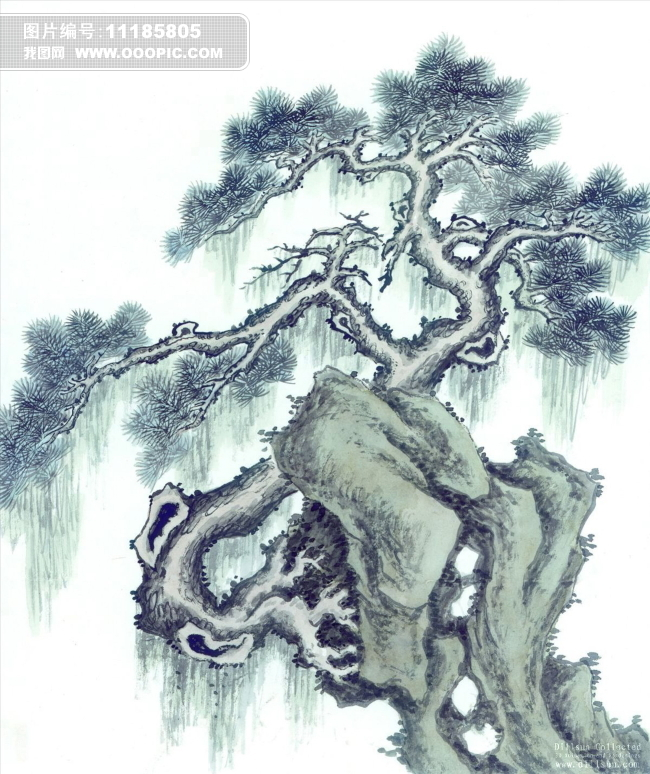 松树国画假山水墨画