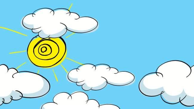 儿童卡通片头蓝天白云太阳视频