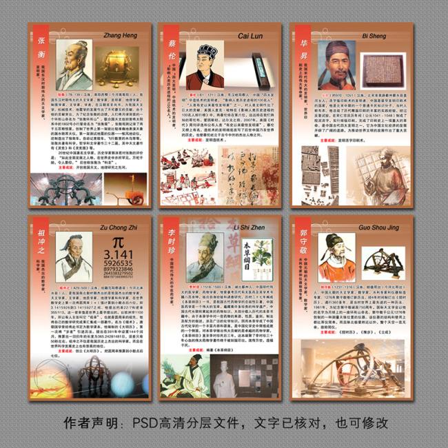 校园文化展板之中国古代科学家