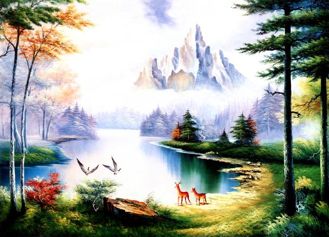 自然风景室内装饰无框画