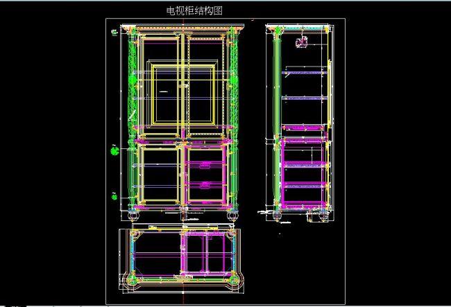电视柜结构图模板下载 11196478 CAD图纸 背景墙
