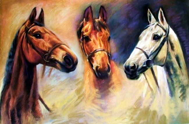 动物画马素材油画下载