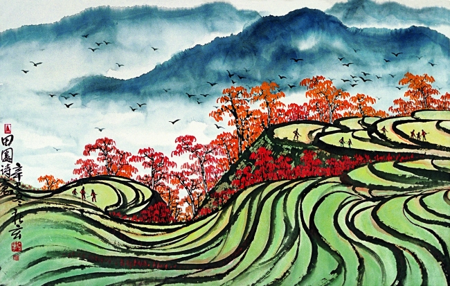 山水风景中国田园画