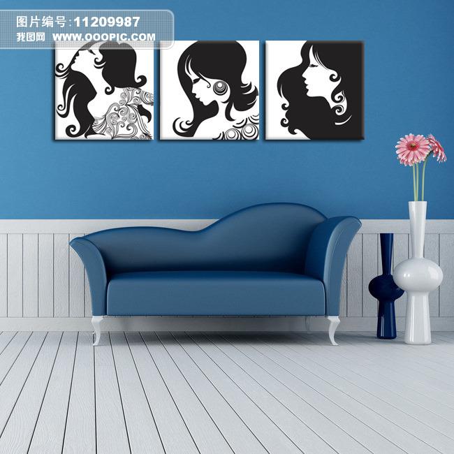 女人头像黑白装饰画