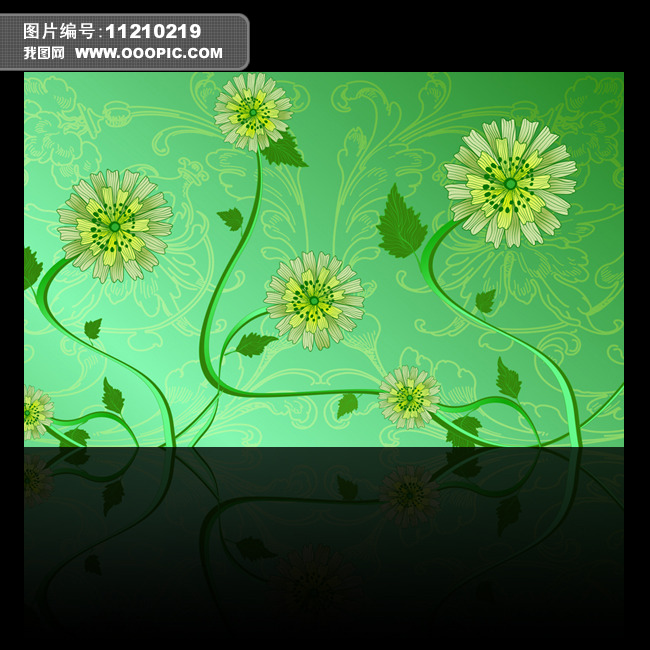 绿色小清新花朵背景墙
