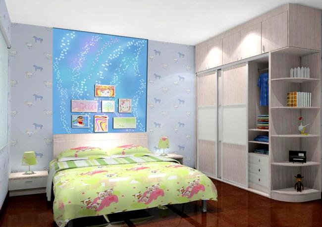 室内设计儿童房背景墙