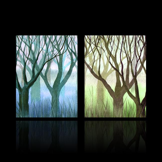 手绘创意树木无框画装饰画