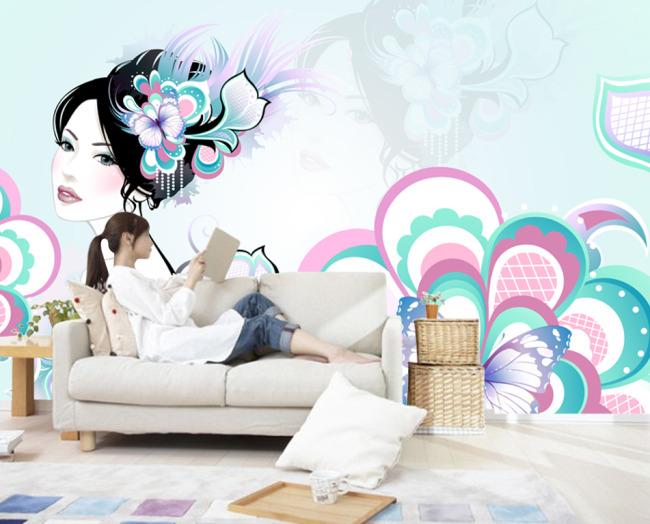 手绘美女图片下载 手绘美女蝴蝶涂鸦元素 花朵 花卉 中堂画 挂画 背景