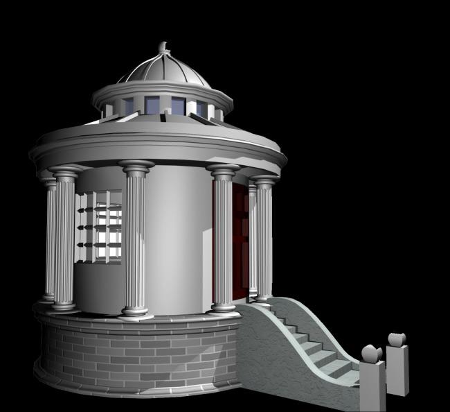 3d模型别墅欧式飘窗窗户外轮廓