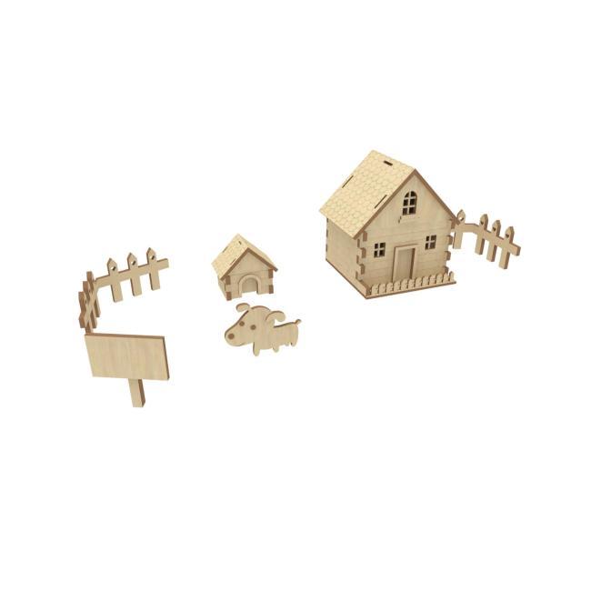 卡通木板快乐农场3d模型房子小狗狗窝