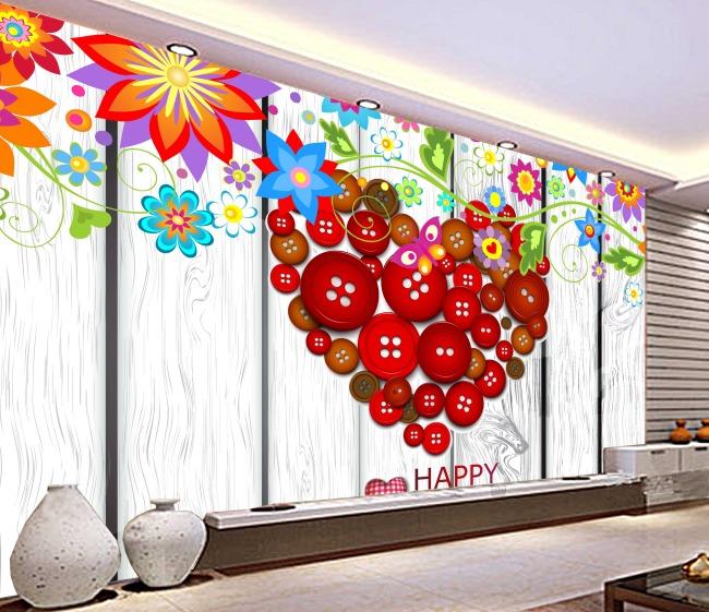 卡通 背景墙/卡通浪漫爱情婚庆喜庆客厅卧室电视背景墙