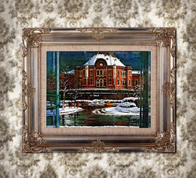雪后的莫斯科街道一景写实风景油画模板下载(图片编号图片