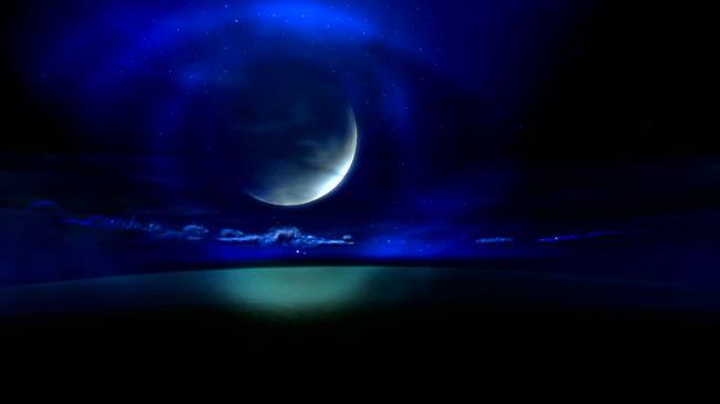 夜晚月光月亮星空云朵云彩视频