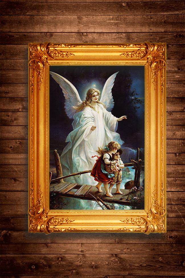 保护孩子的天使古希腊神话传说油画装饰画模板